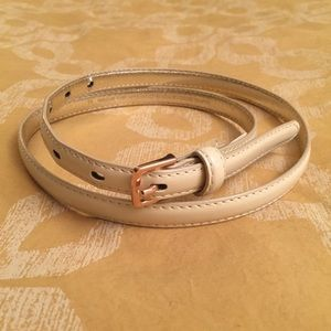 Cream Patent Leather Belt